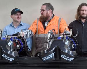 Sarah Ramsay (United Machinists), left, Gareth Turner (Scott Waterjet), Adrian Slocombe (FARRA...