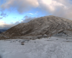 A snowy Crown Range early this morning. Photo: MetService