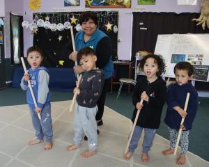 Te Kohanga Reo Kia Ngawari pupils (from left) Kyroe Topi (3), Kendrick Smith (4), Kyrie Topi and...