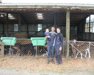 Dairy farmers Ollie and Lauren Badcock and 7-month-old Wilfred moved to Gore last year. PHOTOS:...