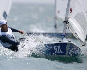 New Zealand sailor Sam Meech competes in the Laser class at the Tokyo Olympics. PHOTO: GETTY IMAGES