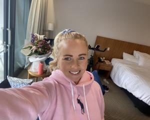 Laura Hoskin in her MIQ room in Christchurch yesterday. PHOTO: LAURA HOSKIN
