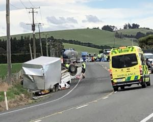 The scene of a crash involving a light truck on State Highway 1 just north of Herbert on Sunday....