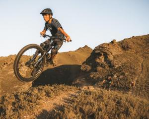 A rider gets some air at Alexandra's Matangi Station Mountain Bike Park. Photo: Will Nelson