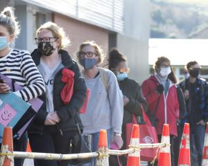 A queue of shoppers with masks in place wait their turn to enter Gardens New World in Dunedin...