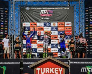 Courtney Duncan on the podium at the Turkey MXGP. Photo: MXGP
