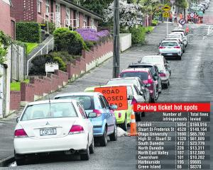 Cars parked legally in Melville St yesterday afternoon. PHOTO: GERARD O'BRIEN