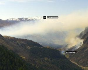Emergency services were alerted to the fire near Queenstown about 2pm. Photo: SKYLINE QUEENSTOWN