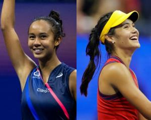 First-time Grand Slam finalists Canadian Leyla Annie Fernandez (left) and Britain's Emma Raducanu...
