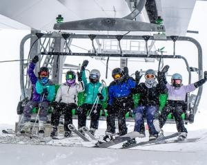 Making their way up the slopes at The Remarkables yesterday are (from left) Laila Frye, India...