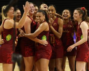 England Roses celebrate winning the Cadbury International Netball Series in Christchurch tonight....