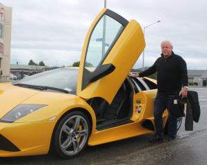 Invercargill man Colin Clay's Lamborghini attracted attention from car enthusiasts. PHOTOS: LUISA...