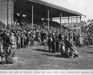 The grandstand and lawn at Wingatui during the Otago Hunt Club's steeplechase meeting on...
