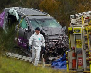 The crash scene where eight people were killed. Photo / File