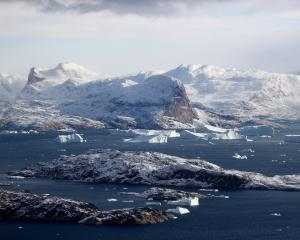 Icebergs seen from Nasa's Oceans Melting Greenland (OMG) research aircraft this week, near...