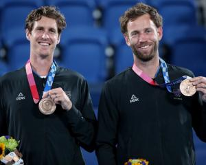 Bronze medallists Marcus Daniell (left) and Michael Venus at the Tokyo Olympics. Photo: Getty...