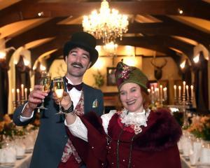 Joe Oliver, of South Australia,  and Donna Demente, of Oamaru, enjoy the birthday celebrations of...
