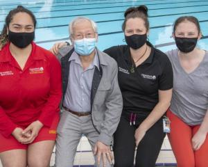 Tegan Lawrence, Minh Lengoc, Rebecca Fraser and Nicole Sullivan at Jellie Park pool. Photo:...