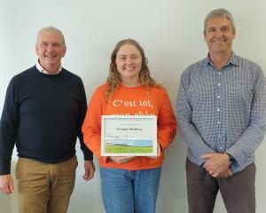 North Otago Irrigation Company scholarship winner Imogen Keeling, flanked by  Andrew Rodwell ...