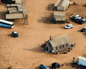 An aerial view of the film set on Bonanza Creek Ranch where actor Alec Baldwin fatally shot...