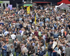 Festival-goers throng Forsyth Barr Stadium as they sample the fresh brews on offer at the ...