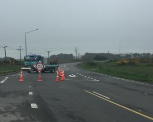 The road was closed after a truck crashed in Southland this morning. Photo: Luisa Girao