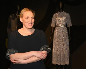 Charmaine Reveley and her entry in the Otago Museum exhibition ''Fashion FWD>>''. PHOTO:...