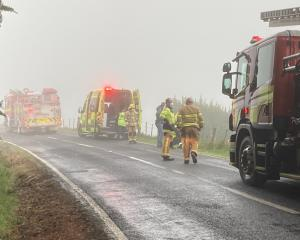 Emergency services at the scene of the crash this morning. Photo: Stephen Jaquiery