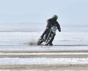 A rider has plenty of room on Oreti Beach at an earlier Burt Munro Challenge. PHOTO: ODT FILES
