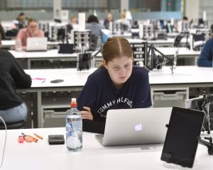 Fourth-year accounting student Olivia Tod (21) begins her online exam in the University of Otago...