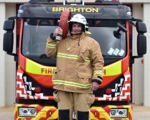 Brighton Chief Fire Officer Grant Tap with the Brighton Volunteer Fire Brigade's new fire truck....