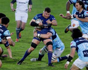 Otago No 8 Dylan Nel carries the ball during the team's win over Northland in Rotorua tonight....