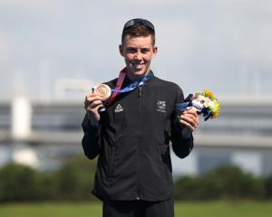 Hayden Wilde after winning the bronze medal for the Men's Individual Triathlon on day three of...