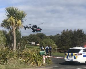 A helicopter takes off with a critically injured person on board from a house in Coast Rd north...