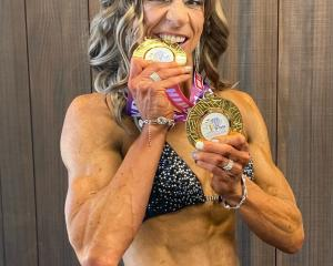 Delaine Tabb displays her medals after a successful weekend at the New Zealand International...