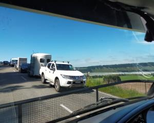 Motorists faced delays in the Rakaia Gorge, which was being used as a detour route following a...