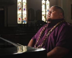 Singer songwriter Lani Alo sings Tua I Manu at the First Church of Otago, in Dunedin. PHOTO:...