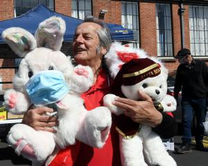 Sammy Smith, of Dunedin, picks up some plush toys for two of his grandchildren, aged 2 and 4,...