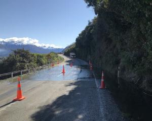 Looking up SH6 towards Makarora – flooding visible over the highway. Photo: NZTA