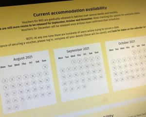 The Managed Isolation and Quarantine online booking page with no availability. Photo: RNZ