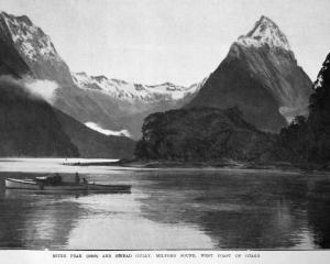 Mitre Peak and Sinbad Gully, Milford Sound. — Otago Witness, 23.8.1921. COPIES OF PICTURE...