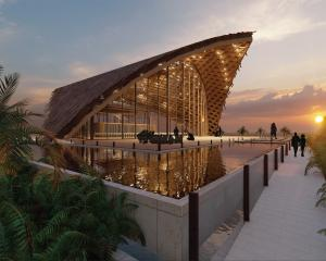 The cultural centre designed by Mila Makasini has a main hall capable of seating 300 people and...