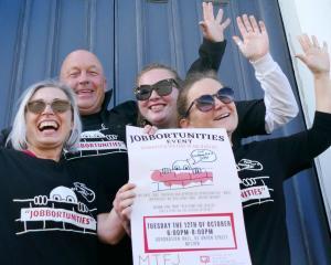 Jobbortunities co-ordinators (from left) Ruth Carraway, Clutha Mayor Bryan Cadogan, Eden Wilson...