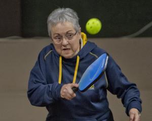 Shirley Woodrow plays pickleball at the Otago Badminton Centre. PHOTOS: GERARD O'BRIEN