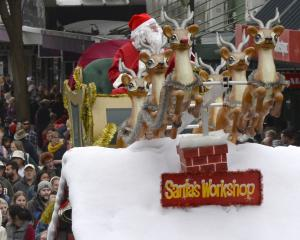 The star of the show, Santa Claus, makes his appearance at the end of the Dunedin Santa Parade....