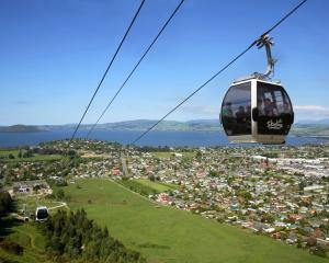 Admire the striking views of Lake Rotorua from your gondola cabin at Skyline Rotorua. PHOTO:...