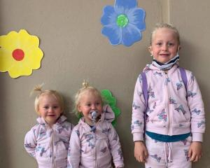Two-year-old twins Karla and Maya Dickason and their six-year-old sister Liane. Photo: supplied