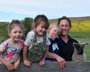 Munro Valley Farms manager Carla Murray and her children (from left) Bella (4), Lucy (6) and Fern...