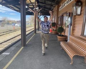 Pleasant Point Museum and Railway volunteer Bill Noble re-enacts how each day he chases away the...
