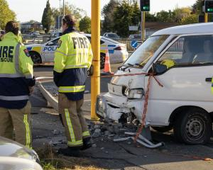The crash was blocking the left-hand turning lane from Fitzgerald Ave onto Kilmore St. Photo:...
